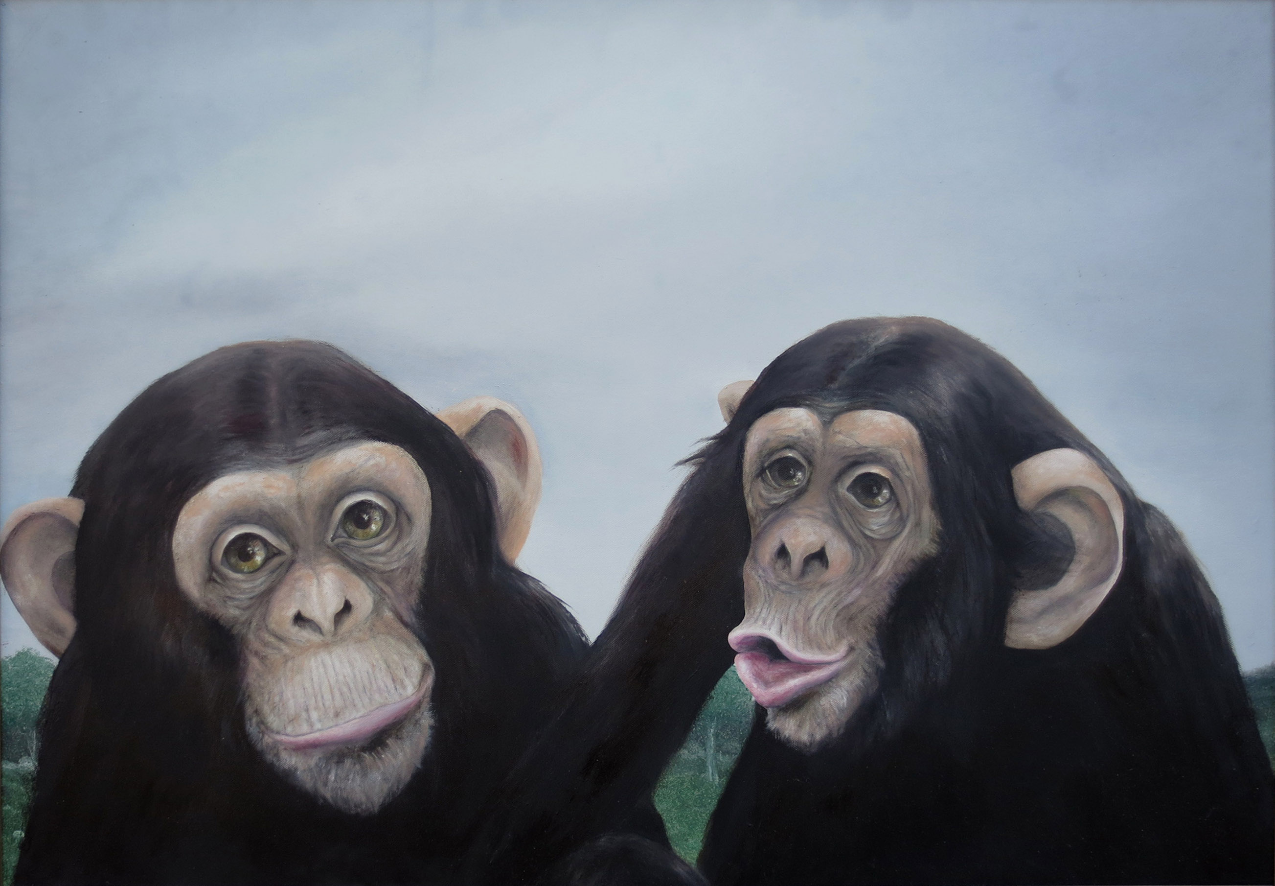 tre-scimmie-2014-100x70-olio-su-tela